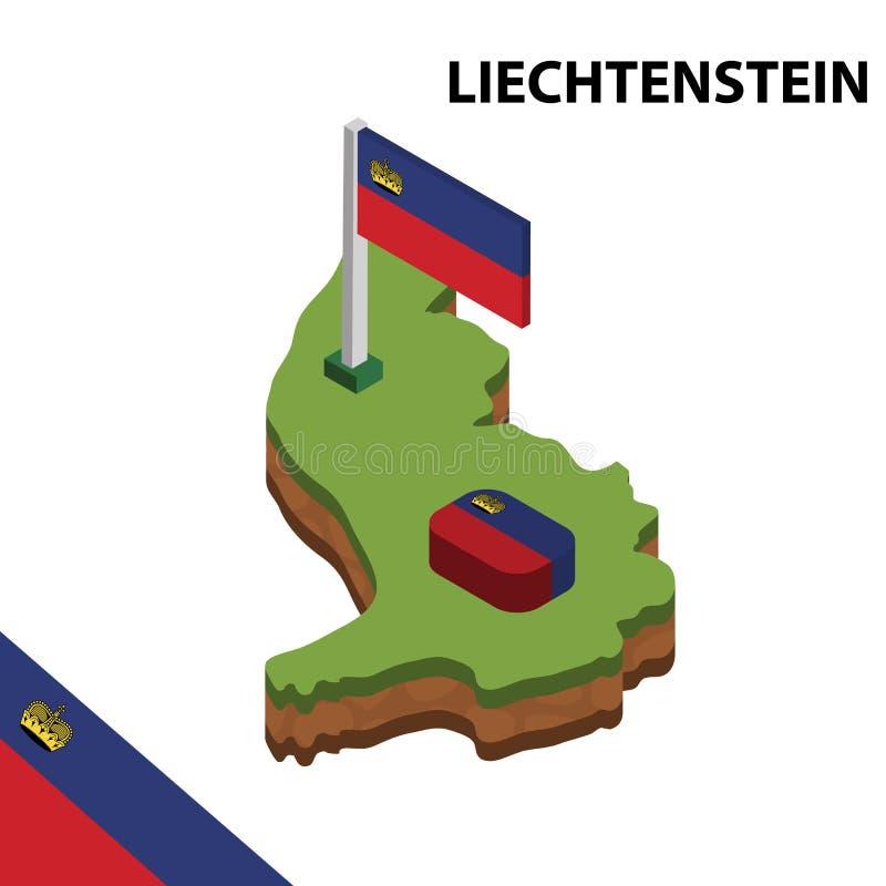 Carte de l'information et drapeau isométriques graphiques de la LIECHTENSTEIN illustration isom?trique du vecteur 3d illustration stock