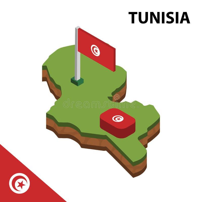 Carte de l'information et drapeau isométriques graphiques de la TUNISIE illustration isom?trique du vecteur 3d illustration stock