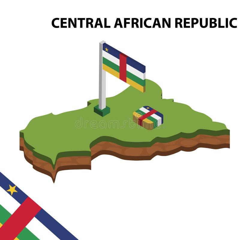 Carte de l'information et drapeau isométriques graphiques de RÉPUBLIQUE CENTRAFRICAINE illustration isom?trique du vecteur 3d illustration de vecteur