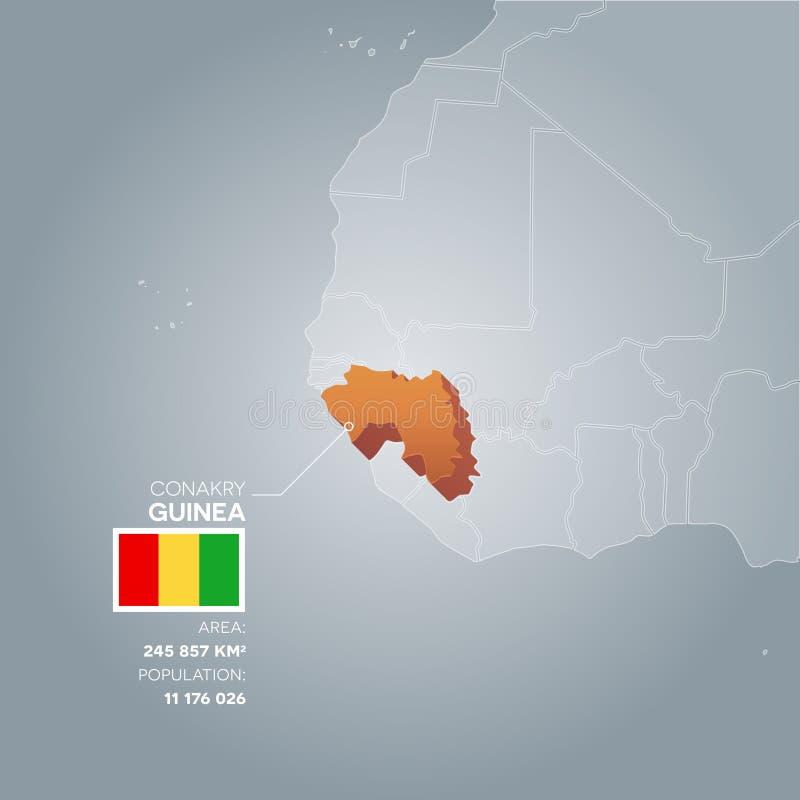 Carte de l'information de la Guinée illustration stock