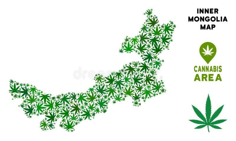 Carte de l'Inner Mongolia de Chinois de collage de marijuana de vecteur illustration libre de droits