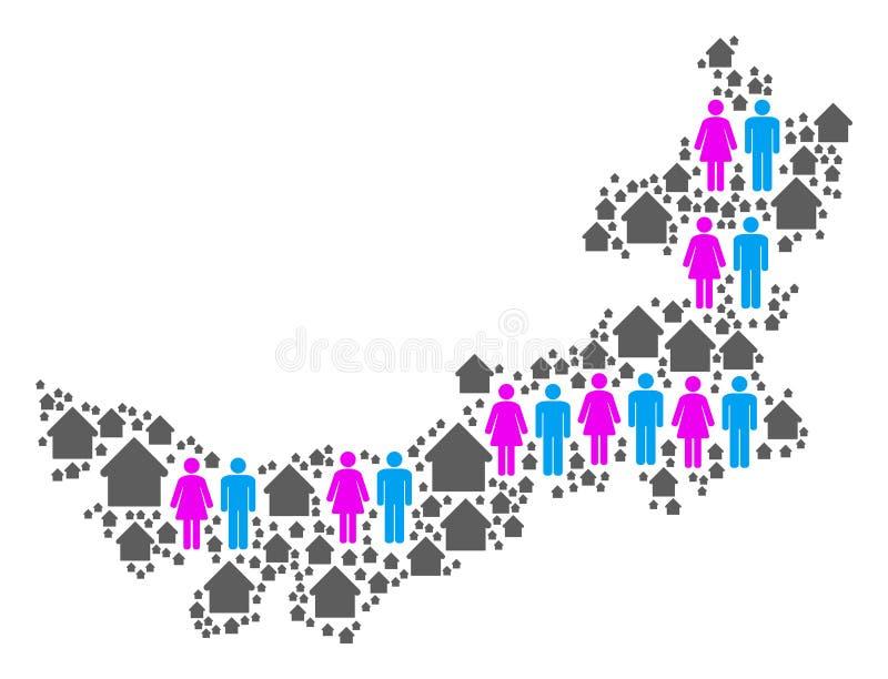 Carte de l'Inner Mongolia de Chinois de démographie illustration stock