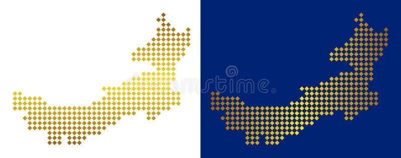 Carte de l'Inner Mongolia de Chinois pointillée par or illustration stock