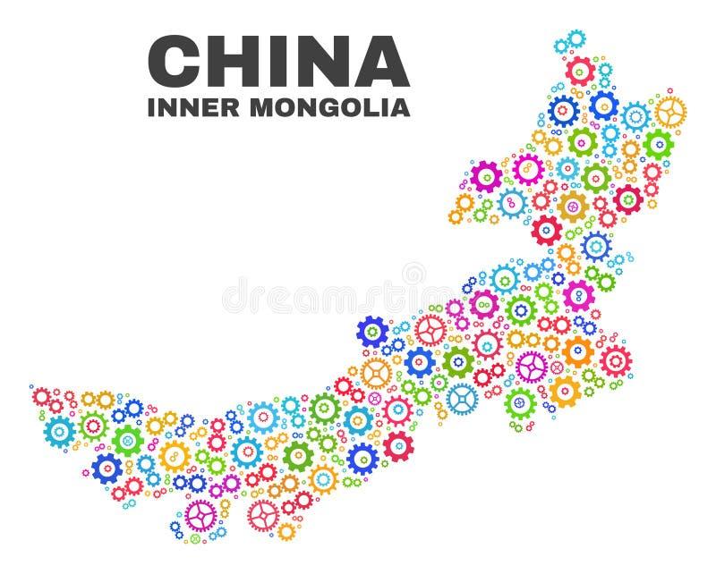 Carte de l'Inner Mongolia de mosaïque des articles de roue dentée illustration stock