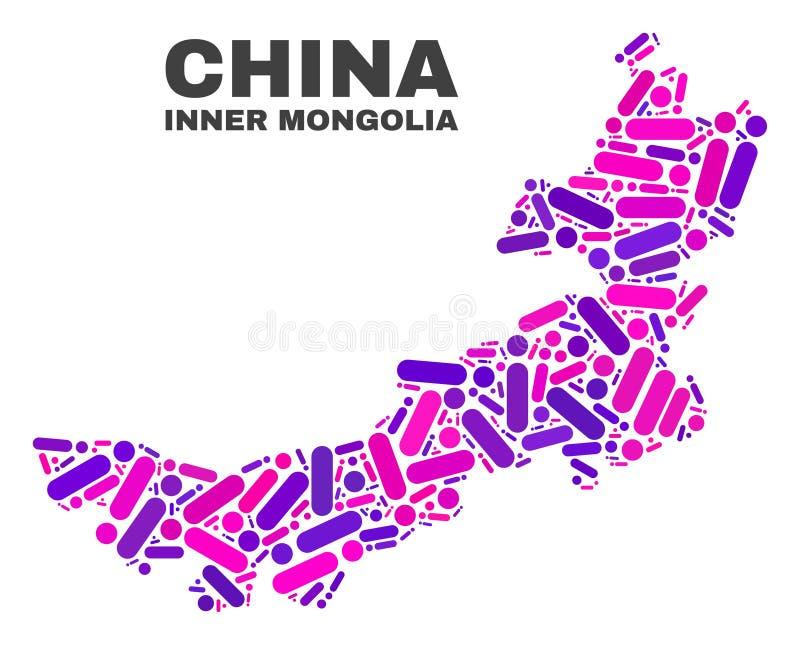Carte de l'Inner Mongolia de mosaïque des points et des lignes illustration stock