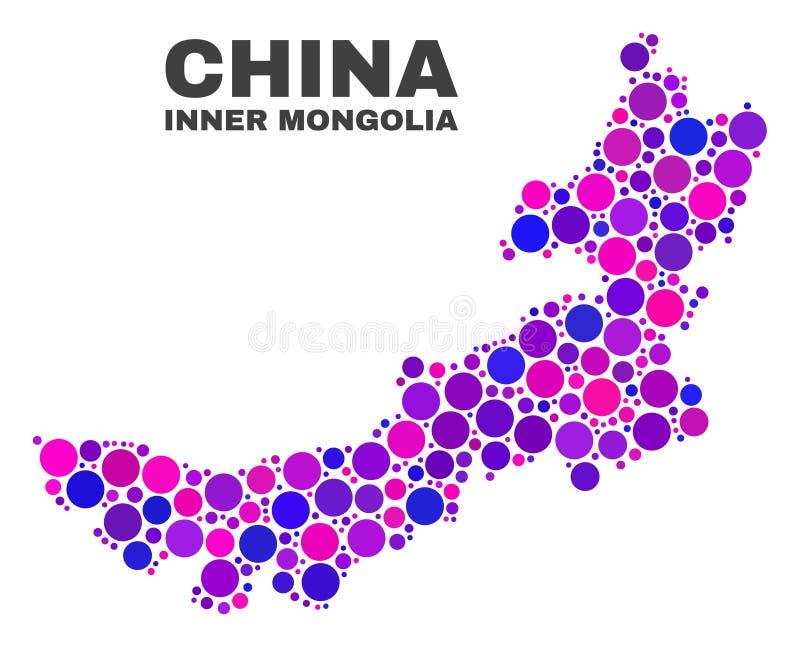 Carte de l'Inner Mongolia de mosaïque des points Spheric illustration de vecteur