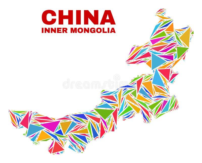 Carte de l'Inner Mongolia - mosaïque des triangles de couleur illustration de vecteur