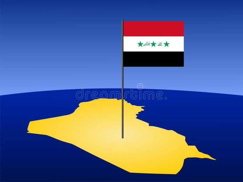 Carte de l'Irak avec l'indicateur illustration stock