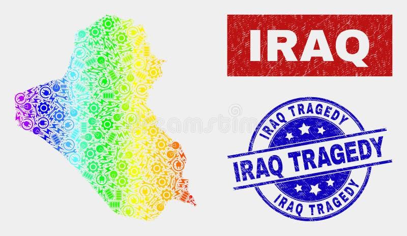 Carte de l'Irak de productivité de spectre et affliger des filigranes de tragédie de l'Irak illustration de vecteur
