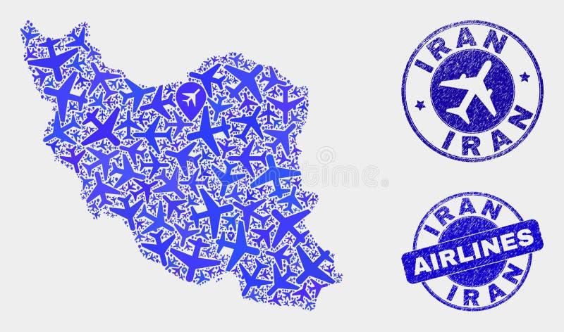 Carte de l'Iran de vecteur de mosaïque d'avion et timbres grunges illustration libre de droits