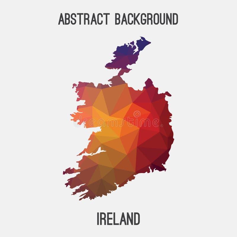 Carte de l'Irlande dans polygonal géométrique, style de mosaïque illustration libre de droits