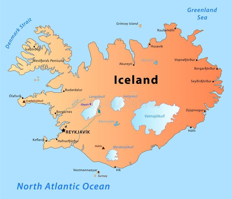 Carte De Islande Avec Volcans Et Villes