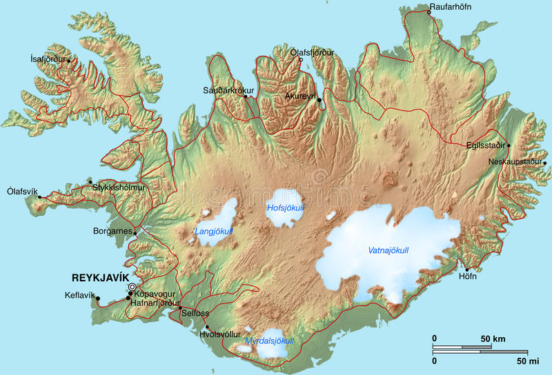 Carte de l'Islande illustration de vecteur