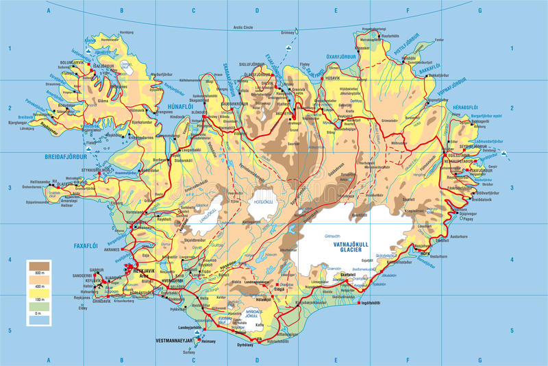 Carte de l'Islande illustration stock