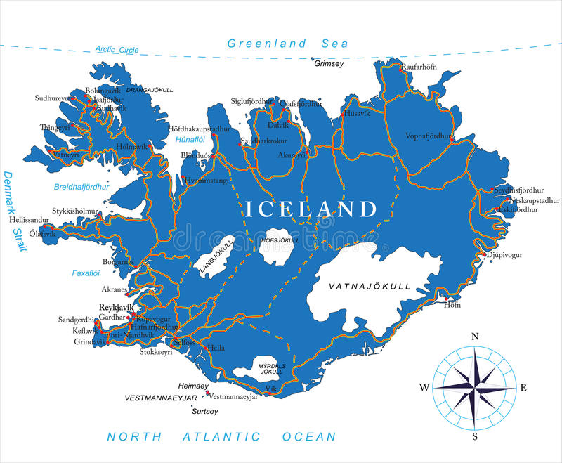 Carte de l'Islande illustration libre de droits