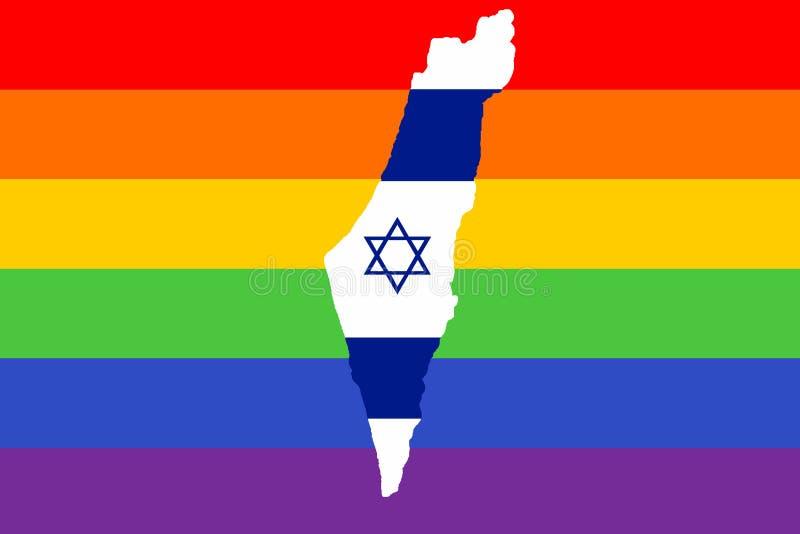 Carte de l'Israël, dans la perspective du drapeau de la fierté des personnes de LGBT avec l'étoile de David bleue illustration libre de droits