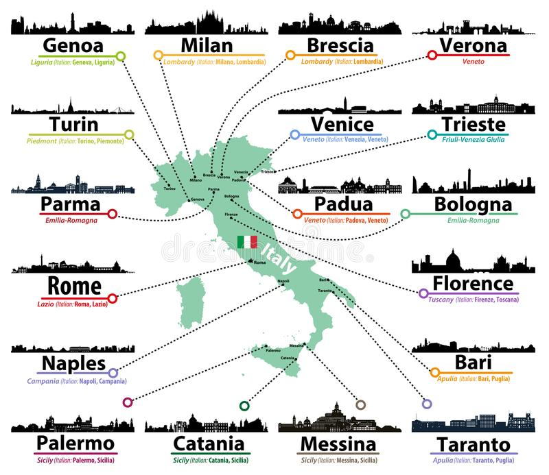 Carte de l'Italie avec le plus grand ensemble italien de vecteur de silhouettes d'horizons de villes illustration de vecteur