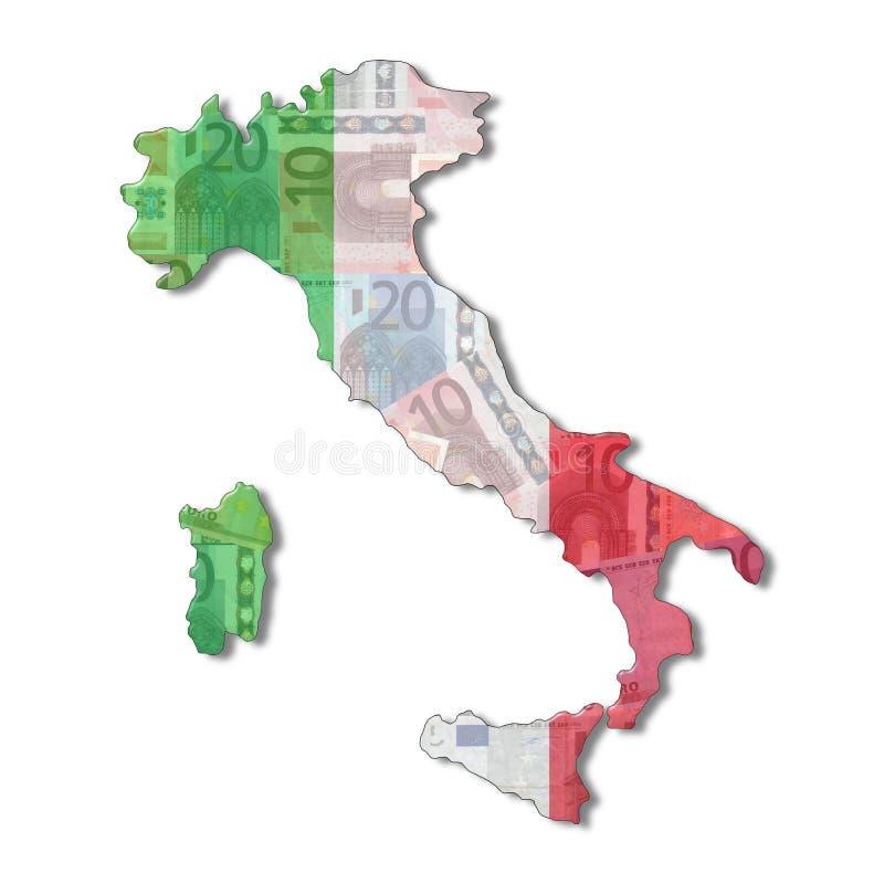 carte de l'Italie d'indicateur d'euro illustration de vecteur