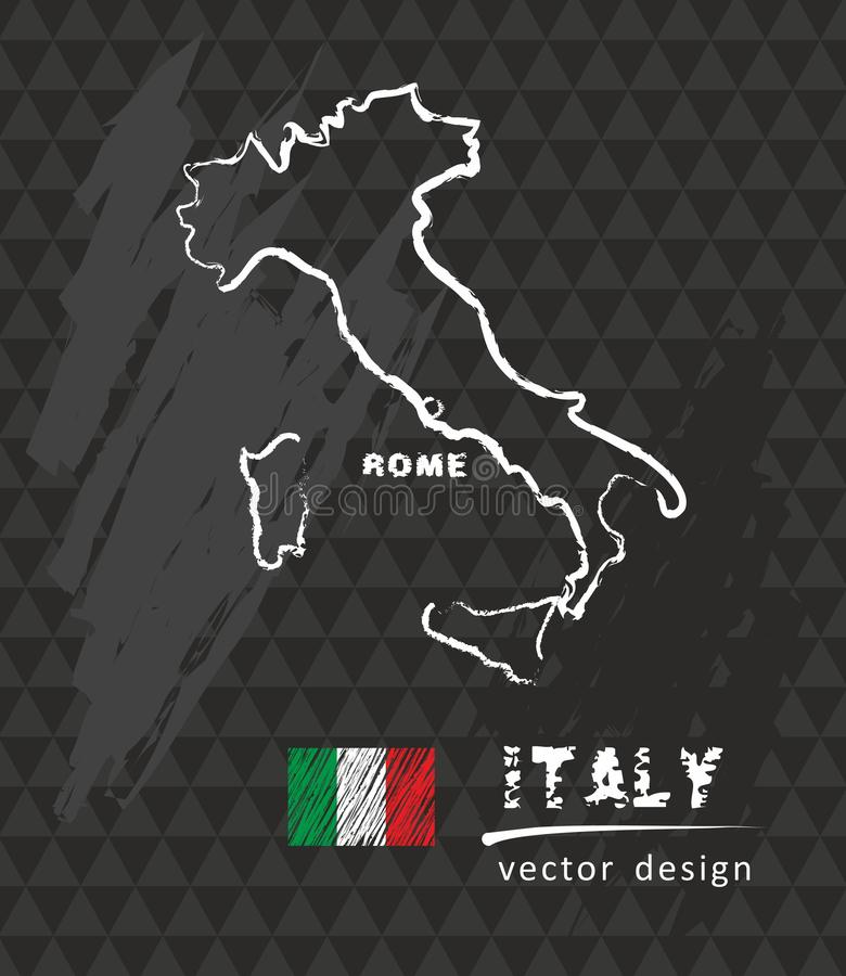 Carte de l'Italie, dessin de vecteur sur le tableau noir illustration libre de droits