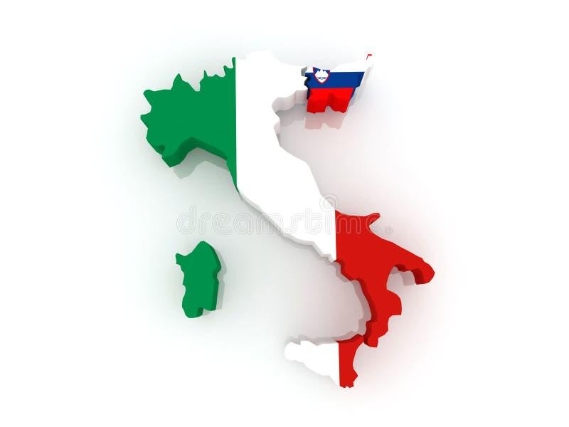 Carte de l'Italie et de la Slovénie. illustration de vecteur