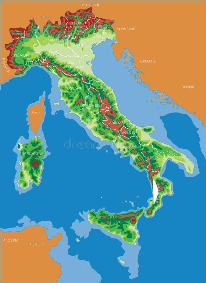 Carte de l'Italie - Français image libre de droits
