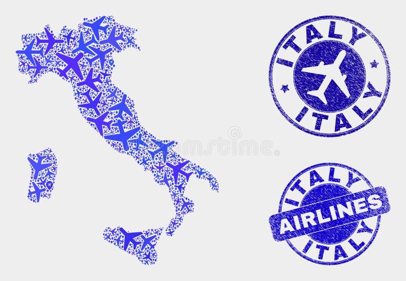 Carte de l'Italie de vecteur de mosaïque d'aviation et timbres grunges illustration de vecteur