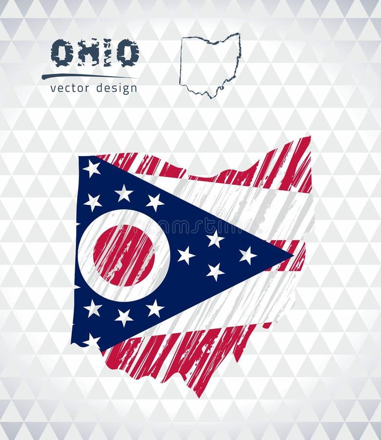Carte de l'Ohio avec la carte tirée par la main de stylo de croquis à l'intérieur Illustration de vecteur illustration libre de droits