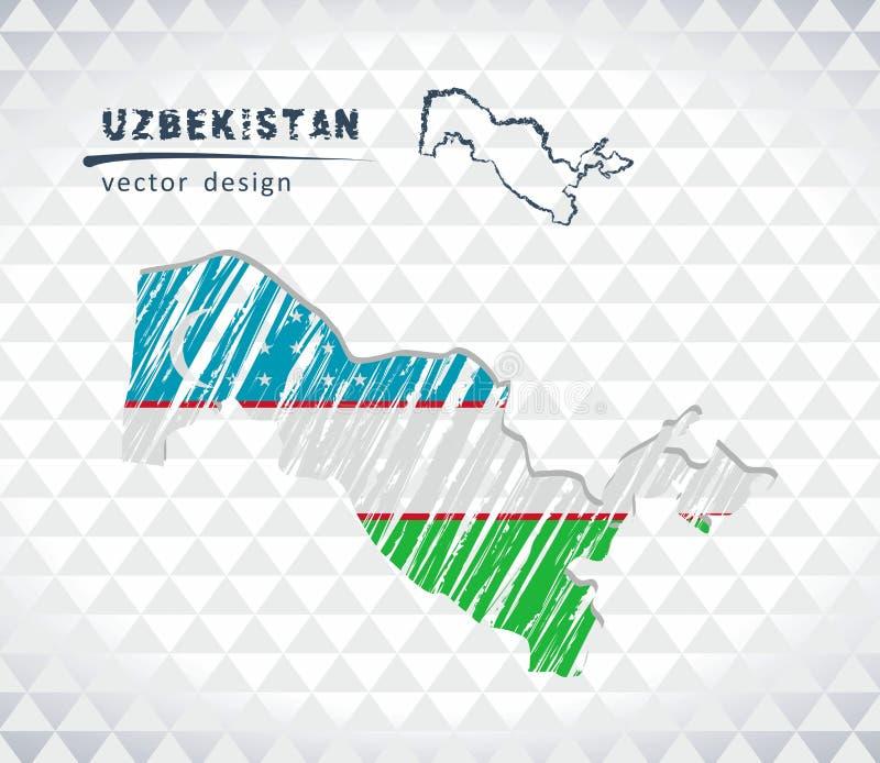 Carte de l'Ouzbékistan avec la carte tirée par la main de stylo de croquis à l'intérieur Illustration de vecteur illustration de vecteur
