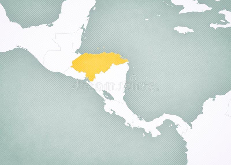 Carte de l'Am?rique Centrale - le Honduras illustration de vecteur