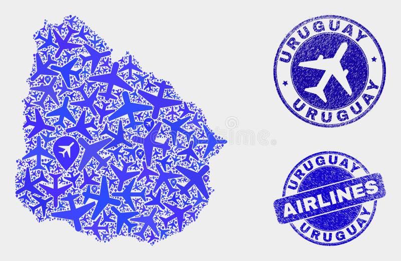 Carte de l'Uruguay de vecteur de mosaïque d'avion et timbres grunges illustration libre de droits