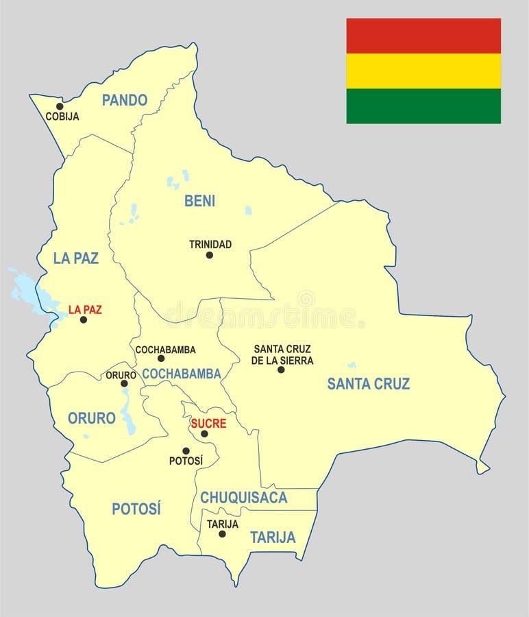 Carte de la Bolivie illustration stock