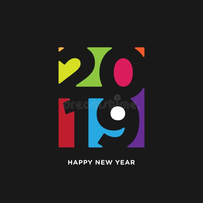 Carte de la bonne année 2019 dans le style de papier l'espace négatif coloré d'isolement sur le fond noir illustration libre de droits