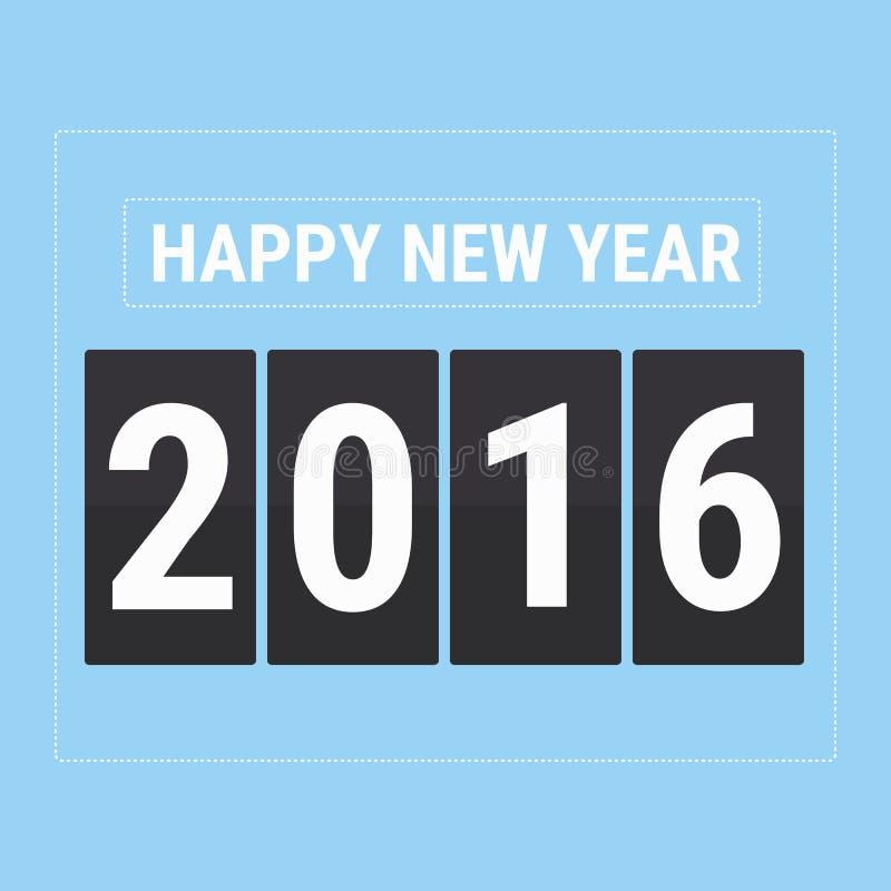 Carte de la bonne année 2016, style plat de conception d'illustion de vecteur illustration stock