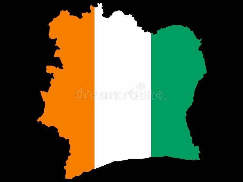 Carte de la Côte d'Ivoire illustration libre de droits