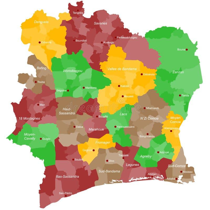 Carte de la Côte d'Ivoire illustration de vecteur