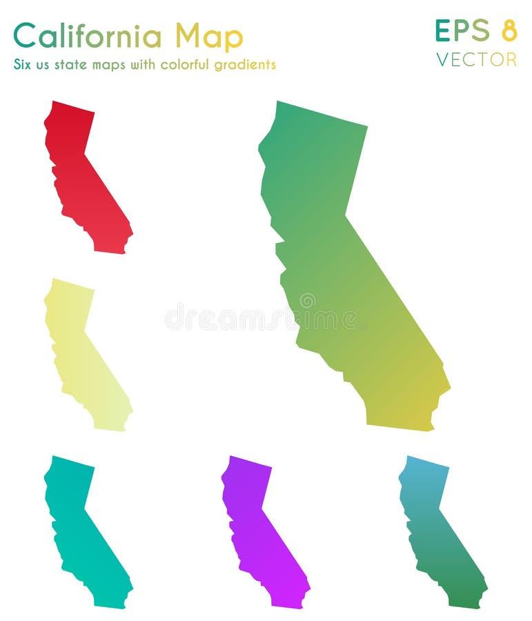 Carte de la Californie avec de beaux gradients illustration libre de droits