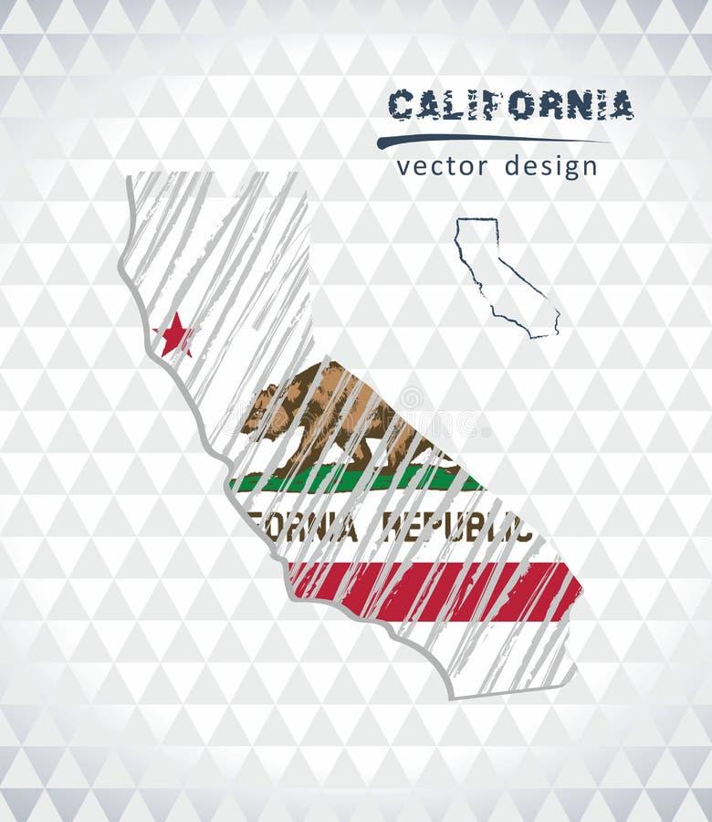 Carte de la Californie avec la carte de croquis tirée par la main à l'intérieur Illustration de vecteur illustration de vecteur