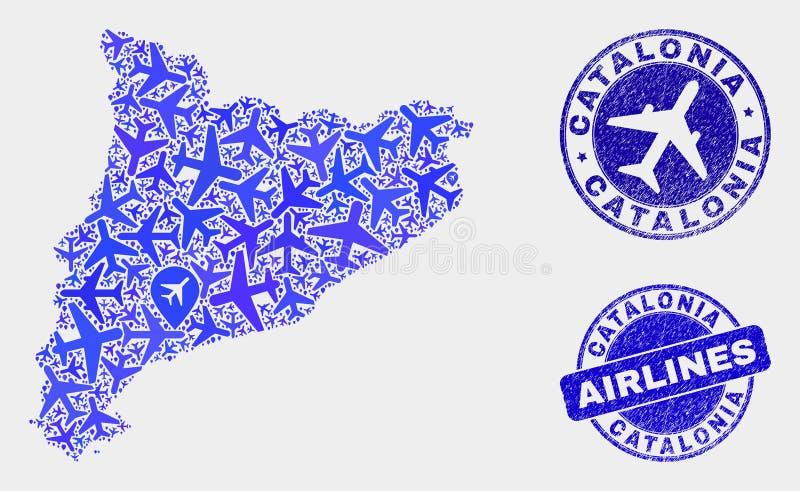 Carte de la Catalogne de vecteur de collage d'avion et timbres grunges illustration stock