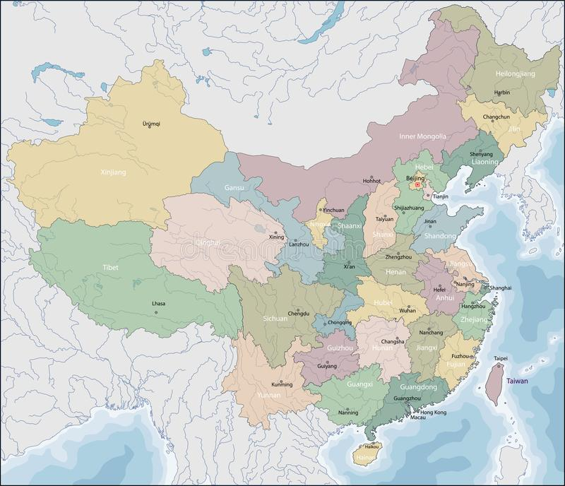 Carte de la Chine illustration de vecteur