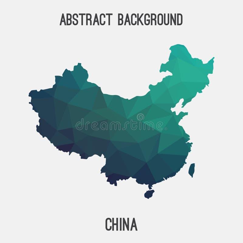 Carte de la Chine dans polygonal géométrique, style de mosaïque illustration de vecteur