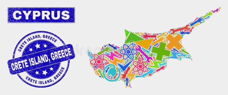 Carte de la Chypre de service de collage et joint de timbre d'île grunge de Crète, Grèce illustration stock