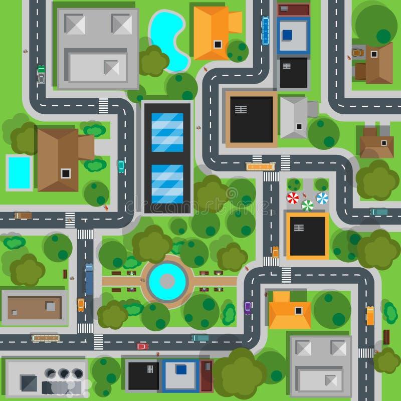Carte de la conception de vue supérieure de ville plate illustration de vecteur