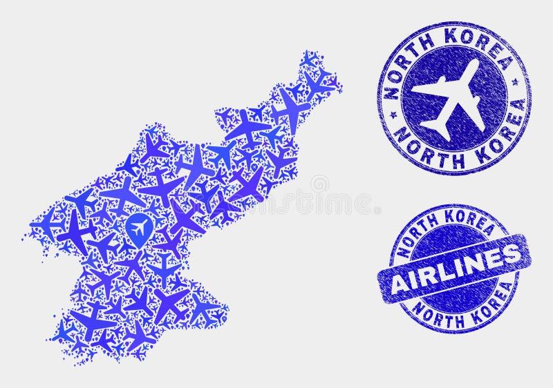 Carte de la Corée du Nord de vecteur de collage d'avion d'air et joints grunges illustration stock