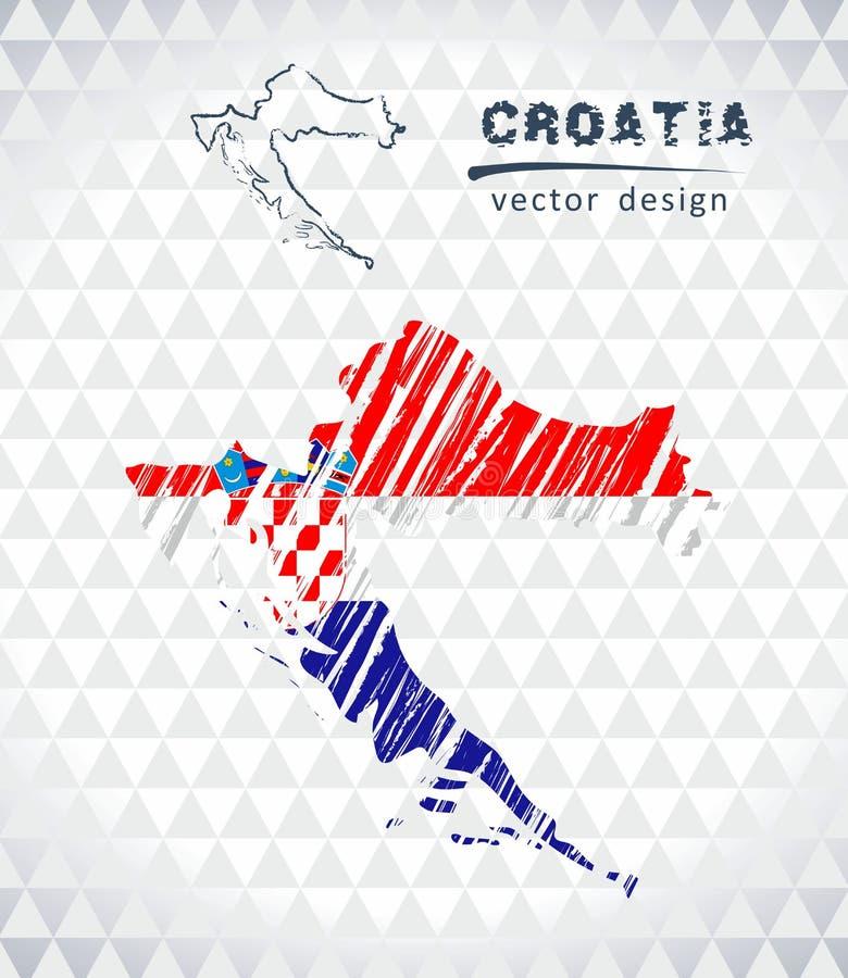 Carte de la Croatie avec la carte de croquis tirée par la main à l'intérieur Illustration de vecteur illustration libre de droits