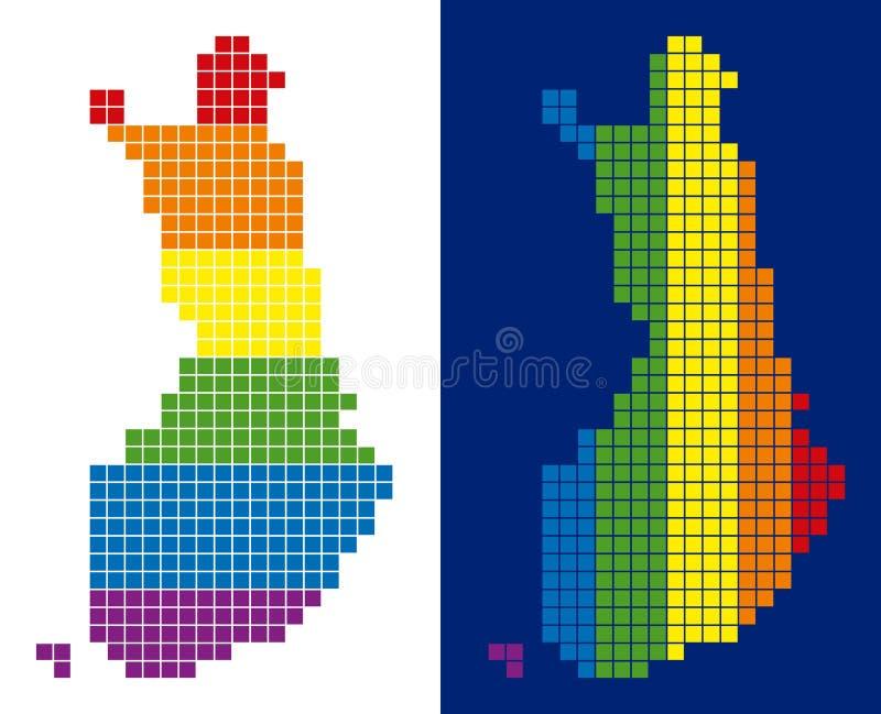 Carte de la Finlande pointillée par pixel de spectre illustration de vecteur