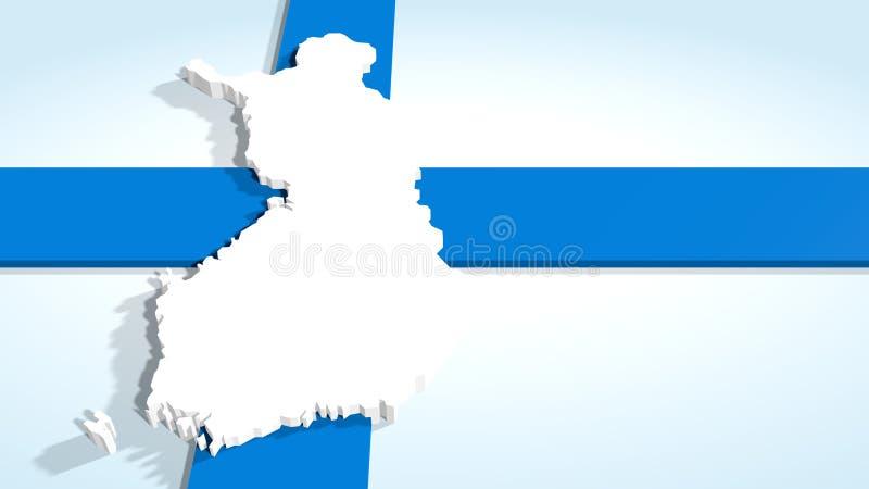 Carte de la Finlande sur le drapeau national illustration stock