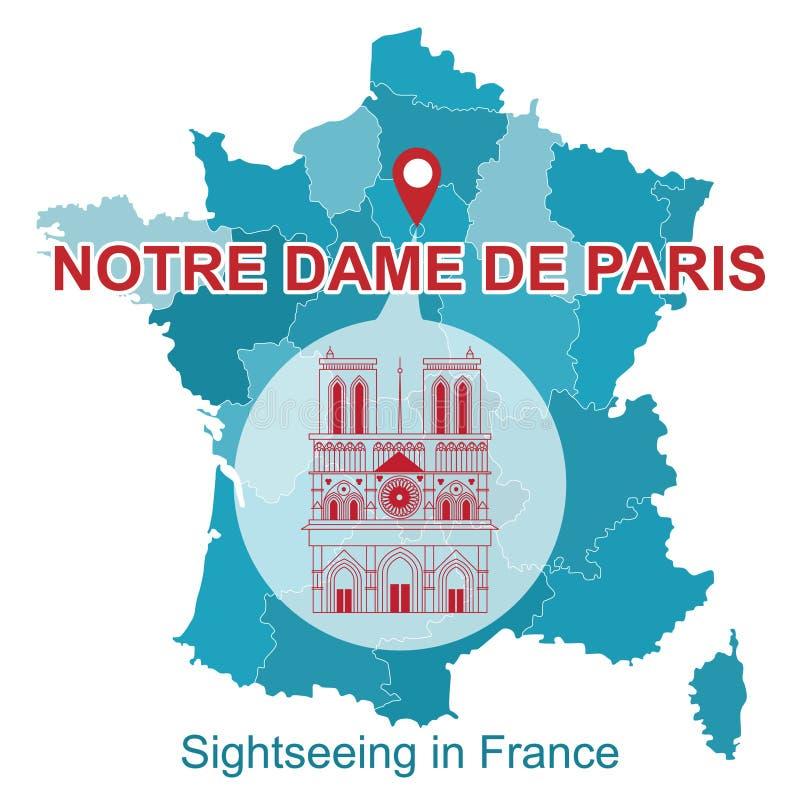 Carte de la France avec l'icône des attractions, Notre Dame de Paris illustration libre de droits