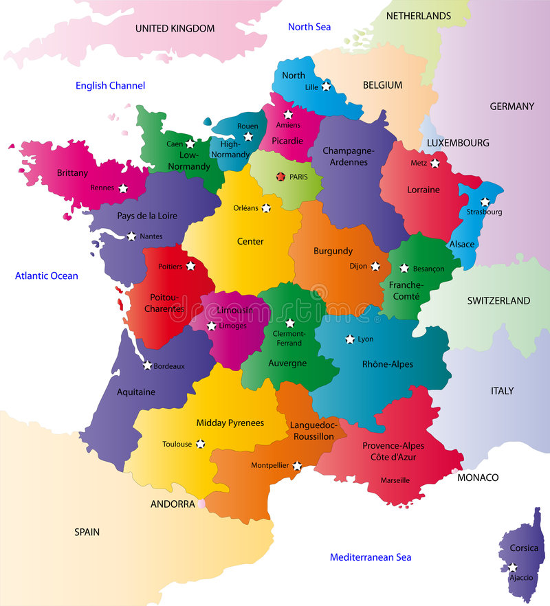 Carte de la france de vecteur images libres de droits for B b carte france