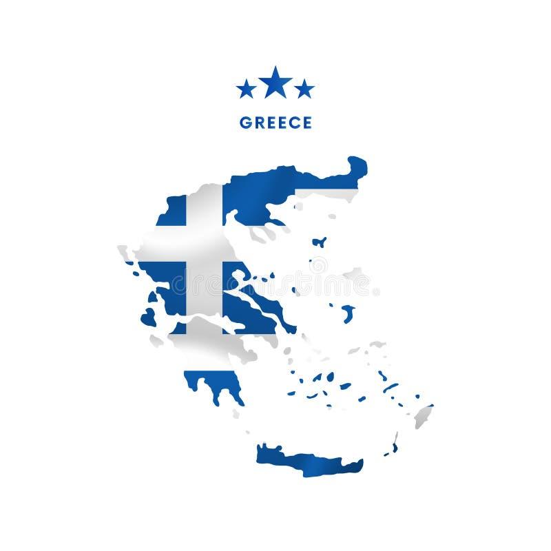 Carte de la Grèce avec le drapeau de ondulation Illustration de vecteur illustration de vecteur