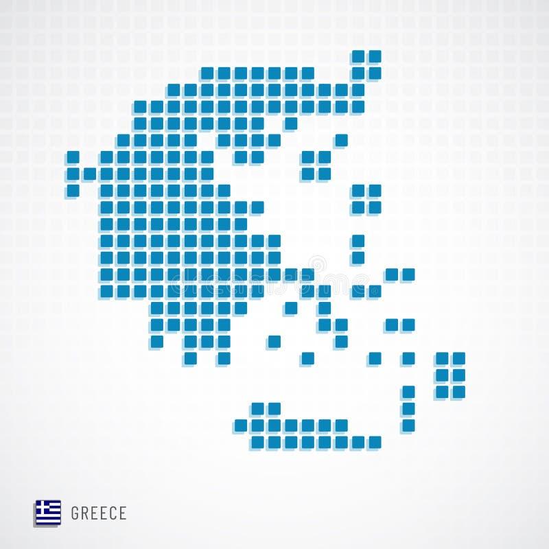 Carte de la Grèce et icône de drapeau illustration stock